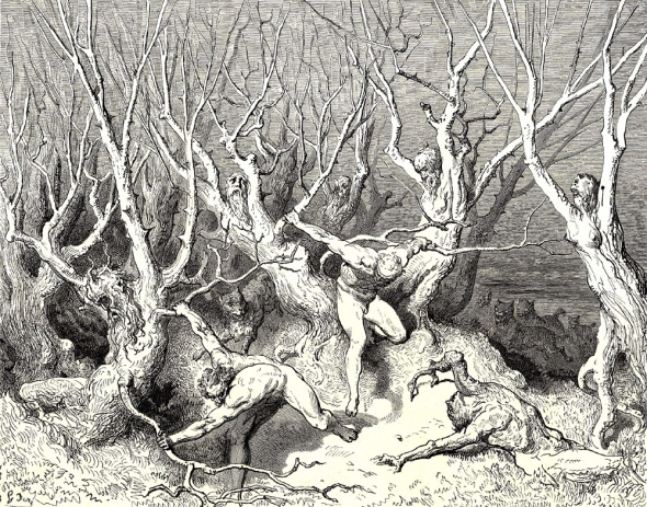 "Gustave Dore (1832-1883) - The Inferno, Canto 13, line 120: ""Haste now,"" the foremost cried, ""now haste thee death!"""