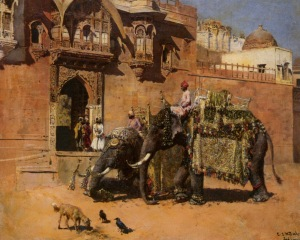 Edwin Lord Weeks (1849-1903) - Elephants at the Palace of Jodhpore